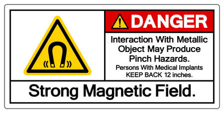 Danger Interaction With Metallic Object May Produce Pinch HazardsStrong Magnetic Field Symbol Sign, Vector Illustration, Isolate On White Background Label .EPS10