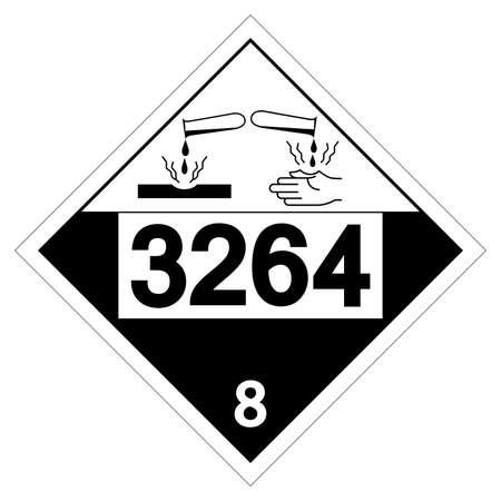 UN3264 Corrosive Liquid Symbol Sign, Vector Illustration, Isolate On White Background Label.
