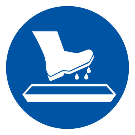 Disinfect Boots Or Shoes Before Entering These Premises Symbol Sign,Vector Illustration, Isolated On White Background Label. EPS10