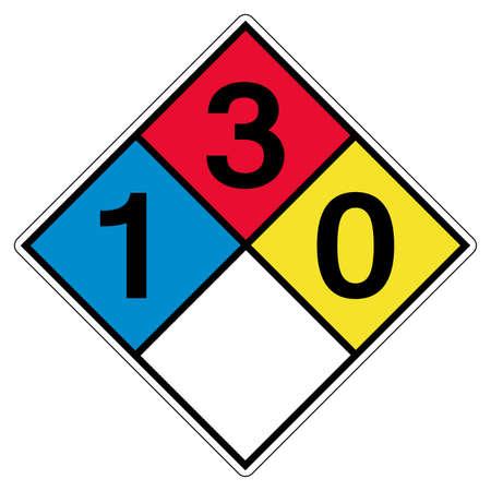 NFPA 704 1-3-0-0 Symbol Sign, Vector Illustration, Isolate On White Background Label. EPS10 Ilustração