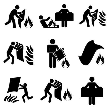 Set Of Fire Blanket Black Icon, Vector Illustration, Isolate On White Background Label. EPS10 Ilustração