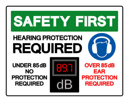 Safety First Hearing Protection Required Symbol Sign,Vector Illustration, Isolate On White Background Label. EPS10