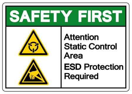 Safety First Attention Static Control Area ESD Protection Required Symbol Sign, Vector Illustration, Isolated On White Background Label .EPS10  イラスト・ベクター素材