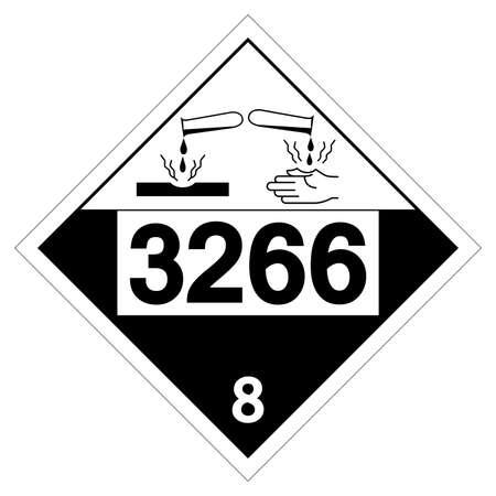 UN3266 Class 8 Corrosive Liquid Symbol Sign, Vector Illustration, Isolate On White Background Label. EPS10