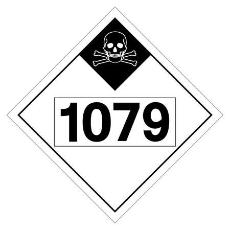 UN1079 Class 2 Sulfur Dioxide Symbol Sign, Vector Illustration, Isolate On White Background, Label .EPS10  イラスト・ベクター素材