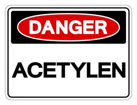 Danger Acetylene Symbol Sign, Vector Illustration, Isolated On White Background Label .EPS10
