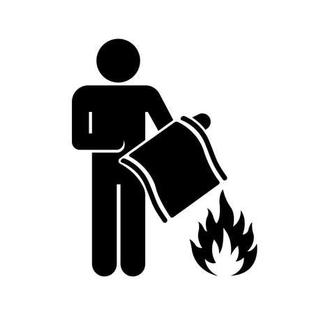 Fire Blanket Black Icon ,Vector Illustration, Isolate On White Background Label. EPS10  イラスト・ベクター素材