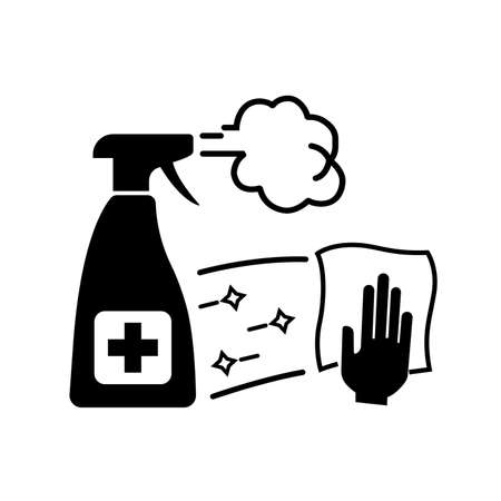 Disinfect Work Surface and Equipment On A Regular Basis Black Icon ,Vector Illustration, Isolate On White Background Label.