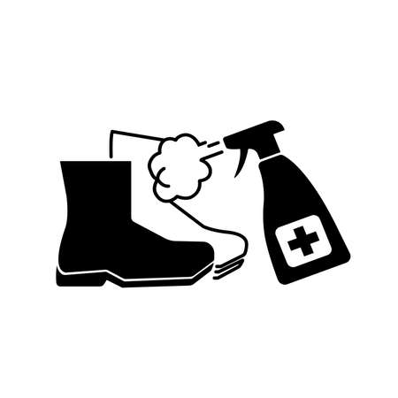 Please Disinfect You Boots Or Shoes Black Icon ,Vector Illustration, Isolate On White Background Label.  イラスト・ベクター素材