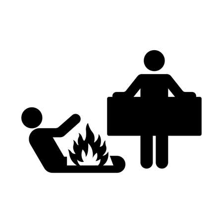 Fire Blanket Black Icon ,Vector Illustration, Isolate On White Background Label.