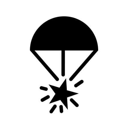 Rocket Parachute Flare Black Icon ,Vector Illustration, Isolate On White Background Label.