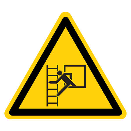 Emergency Window With Escape Ladder Symbol Sign, Vector Illustration, Isolate On White Background Label.