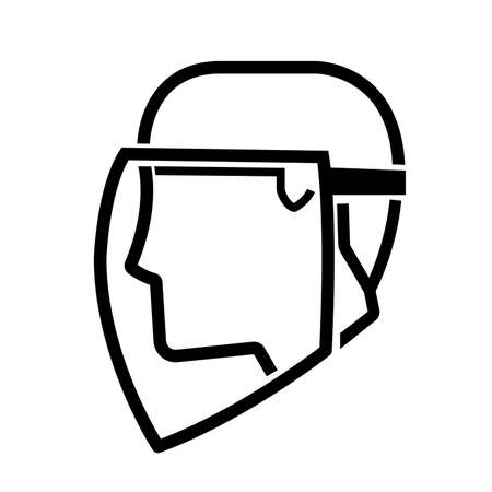 Face Shield Required Black Icon ,Vector Illustration, Isolate On White Background Label. Illusztráció