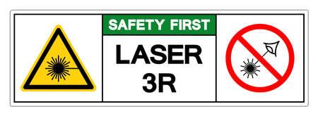 Safety First Laser 3R Symbol Sign ,Vector Illustration, Isolate On White Background Label. Illusztráció