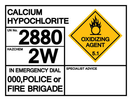 Calcium Hypochlorite UN 2880 Symbol Sign, Vector Illustration, Isolate On White Background, Label .