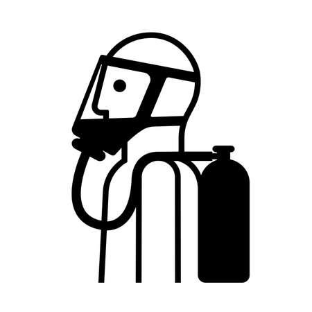 Breathing Apparatus Black Icon ,Vector Illustration, Isolate On White Background Label. Illusztráció