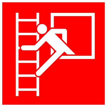 Emergency Window With Escape Ladder Symbol Sign, Vector Illustration, Isolate On White Background Label. EPS10