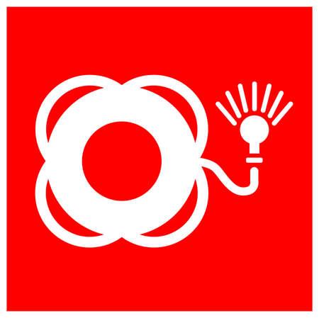 Lifebuoy With Light Symbol Sign, Vector Illustration, Isolate On White Background Label. EPS10 Illusztráció