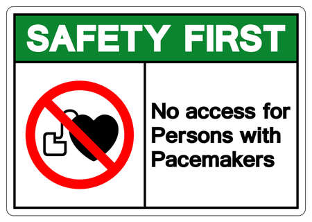 Safety First No Access For Persons With Pacemakers Symbol Sign, Vector Illustration, Isolate On White Background Label .EPS10