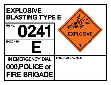 Explosive Blasting Type E UN0241 Symbol Sign, Vector Illustration, Isolate On White Background, Label .EPS10 Illusztráció