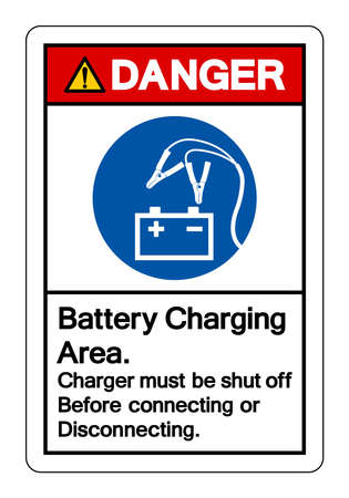 Danger Battery Charging Area Charger must be shut off Before connecting or Disconnecting Symbol Sign, Vector Illustration, Isolated On White Background Label .EPS10 Illusztráció