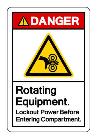 Danger Rotating Equipment Lockout Power Before Entering Compartment Symbol Sign, Vector Illustration, Isolate On White Background Label. EPS10