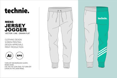 Jersey Jogger Vector Flat Template for the use in Fashion Design of clothing and accessories
