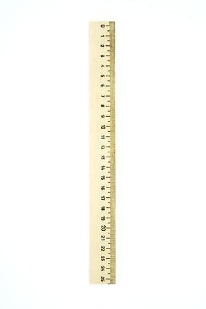 Retro wooden ruler isolated on white background