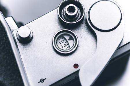 Close up vintage film camera details