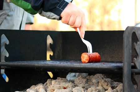 Sausage on a Grill in a park at Hull Massachusetts Imagens