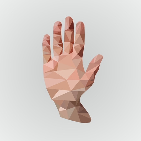 illustration low poly hand on gray beckground