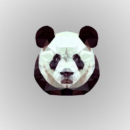 illustration low poly panda on gray beckground Ilustração
