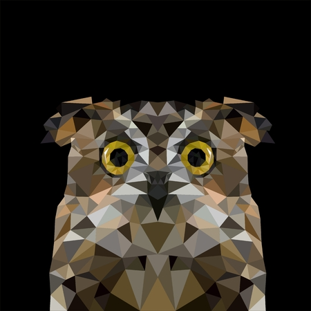 Artistic portrait of a gray owl of triangles Illustration