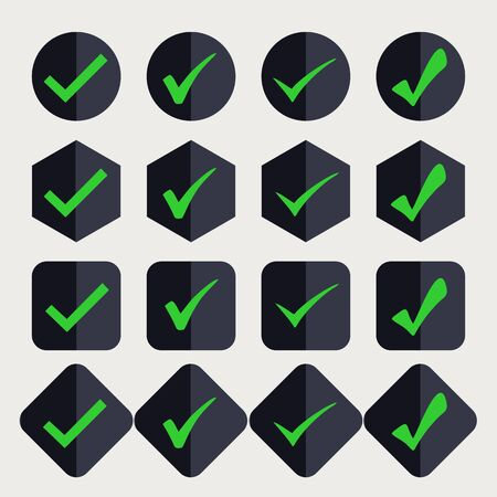 SetIsolated green checkmarks in a black button. Ideal for application, website or clip art. Ilustrace