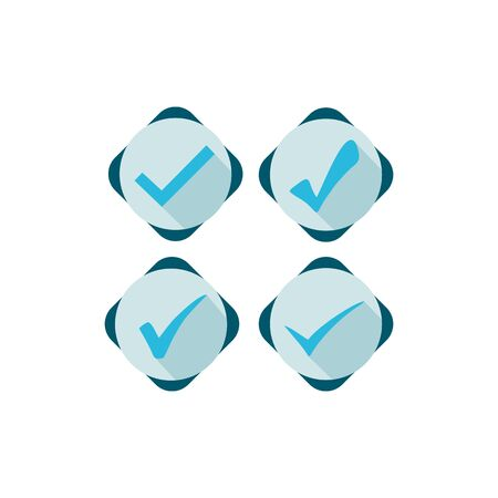 Isolated blue checkmark in a white background. Ideal for application, website or clip art.