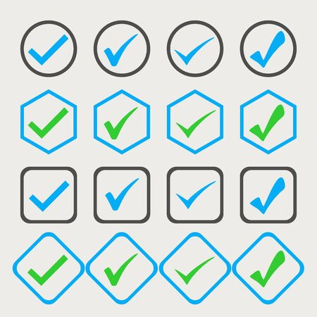 Isolated blue and green checkmark in a white background. Ideal for application, website or clip art.