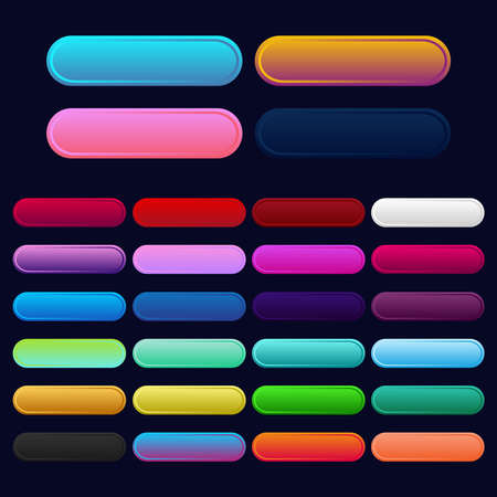 Icon set multi colored button in flat style. Easy editable vector isolated illustration.
