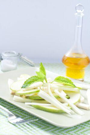 Fresh green salad and celeriac celery and green apple