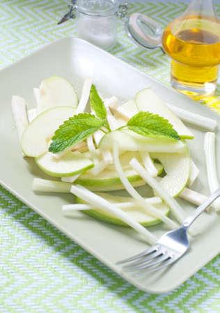 celeriac: Fresh green salad and celeriac celery and green apple