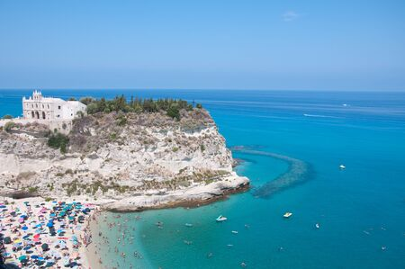 located: Top view of the church located on the island of Tropea, Calabria Italy
