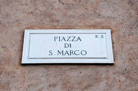 piazza san marco: Road sign indicating a street name in Italian Piazza San Marco in English means San Marco square, rome Editorial