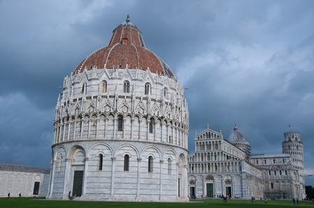 miracle square: Miracle square with basilica and pisa tower,italy