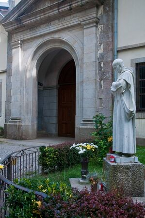 pio: The entrance to the monastery of Serra San Bruno with the statue of Padre Pio, Calabria, Italy