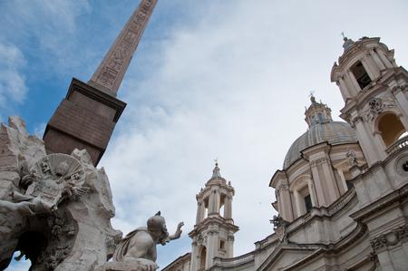 obelisk: particularly the obelisk of Piazza Navona in Rome,italy Stock Photo