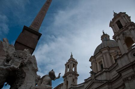 particularly: particularly the obelisk of Piazza Navona in Rome,italy Stock Photo