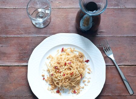 breadcrumbs: Pasta with anchovies and breadcrumbs, typical of Sicily,italy