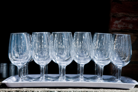 numerous: numerous glass glasses on a tray,italy