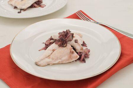 bream: Fish bream with red radicchio di Treviso
