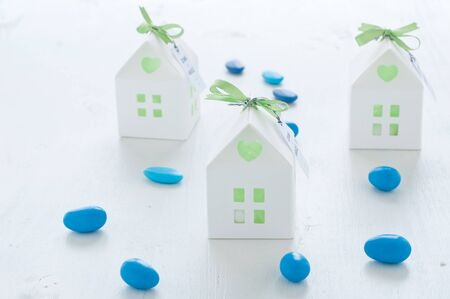 favors: shaped favors the house that contain confetti,italy