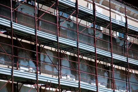 remake: metal scaffolding that serve to remake a palace,bricklayer
